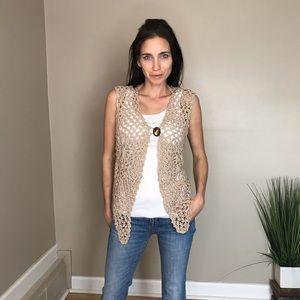 Lianne Barnes Crocheted  Tan Sweater Vest